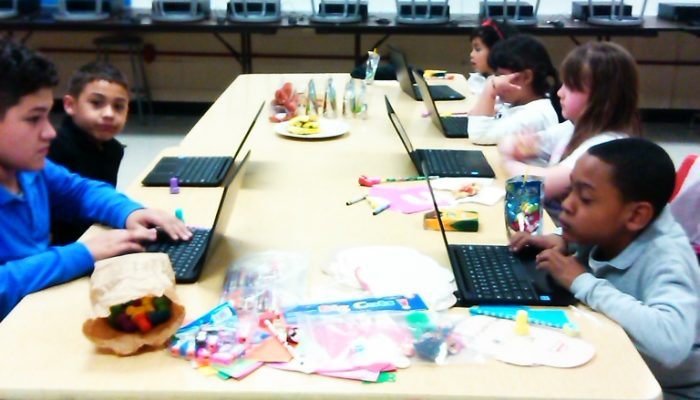 Students utilizing the Parent Resource Center